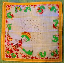 Vintage Country Boy & Ducks Whimsical Yellow Border Novelty Linen Handkerchief