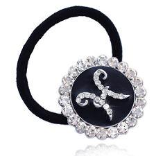 Monogram Initial Letter H Charm Ponytail Elastic Hair Tie Holder for Girls