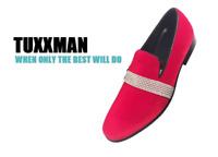 New Men's Red Velvet & Rhinestones Slip On Dress Shoes Loafers Tuxedo TUXXMAN