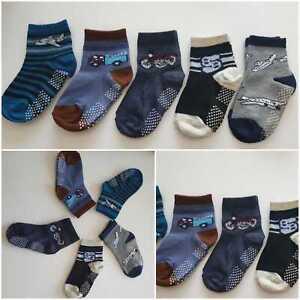 5x Baby/Jungen Strümpfe Anti-Rutsch Socken 17-20 21-23 24-27 28-30 ABS-Noppen