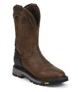 Justin Men's Mechanic Brown Waterproof Steel Toe Work Boots WK2120