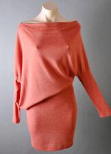 Asymmetric Off Shoulder Causal Long Sleeve Boat Neck Blouson Sweater Mini Dress