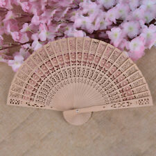 Chinese Bamboo Folding Hand Fan Wedding Party Flower Pattern Vintage Gift WoodTo