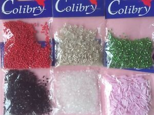 Tiny Glass Beads  6 x 20gram Assorted Types and Colours