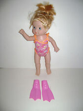 Zapf Creation BABY BORN Mommy Look I Can SWIM Swimming DOLL Flippers Suit WORKS