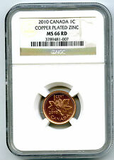 2010 CANADA CENT NGC MS66 RD NON MAGNETIC ZINC HIGH GRADE ISSUE CERTIFIED COIN
