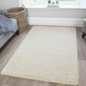 Small Large Cream Shaggy Rug | Cheap Rugs For Bedroom | Warm Cosy Carpet Mats