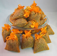 Set of 80 Lavender Sachets made with Orange Organza Bags