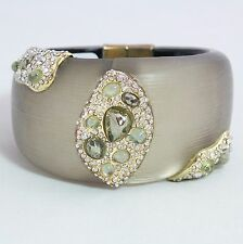 Alexis Bittar Brown Lucite Crystal Jeweled Wide Hinge Bracelet Gold $495 NWT