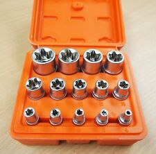 "14 PC E Torx Star Female Bit Socket Set 1/2""/3/8""/1/4"" Drive E4 -E24"