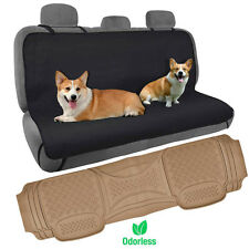 Dog Car Seat Cover Rear Bench Hammock w/ Odorless Car Floor Mat Heavy Duty Beige