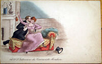 1903 French Risque Postcard: Man Groping/Kissing Woman, Engraved & Artist-Signed