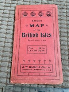 """Vintage """"Bacon's Map of the British Isles"""" 1910s colour - roads shipping +++"""