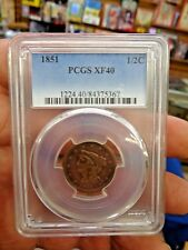 1851 braided hair half cent pcgs xf40