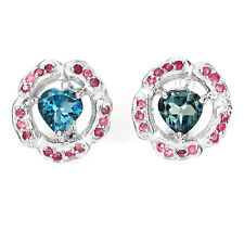 DELUXE! NATURAL 7mm. TOP LONDON BLUE TOPAZ-RED RUBY STERLING 925 SILVER EARRINGS