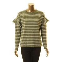 LAUREN RALPH LAUREN NEW Women's Striped Ruffled-sleeve Casual Shirt Top TEDO