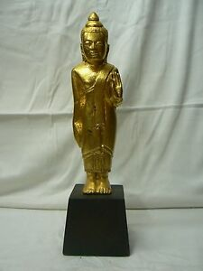 """AB109 Antique Burmese Buddha Carved Wood Gold color 19th C. """"do not fear"""""""