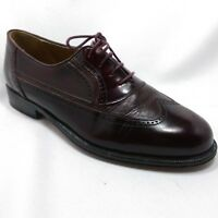Stamati Mastroianni Burgundy Leather Wingtip Dress Shoes Italy Men's Size 7.5 W