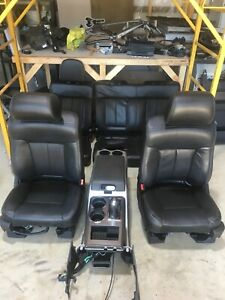 2009-2014 FORD F150 FX4 BLACK LEATHER FRONT/REAR SEATS W/CONSOLE POWER