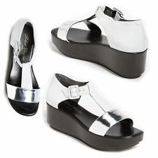 Robert Clergerie Pepo Sandal T Strap Wedge Platinum Silver Slide Shoe 9.5