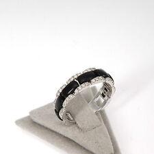 Wert 1620 € Brillant Onyx Ring (0,45 Carat) in 750er 18 K Weißgold Größe 55