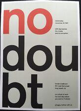 "No Doubt,James's Addiction,2 Sided Punk/Rock Concert Mini Poster Art 14x10"" R171"