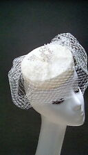 Wedding races occasion hat fascinator white netted