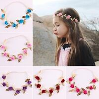 Girl Crown Headband Baby Garland Rose Flower Wreath Gold Leaves Hair Band