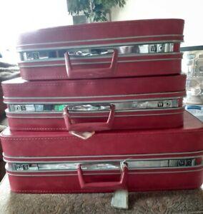 Vintage Hot Pink 3 Piece SAMSONITE  Fashionaire LUGGAGE  Suitcase Set  RARE