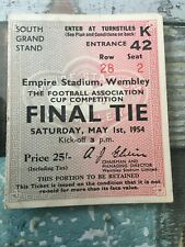 More details for ticket - fa cup final 1954 west brom v preston north end - 25/- pink rare ticket