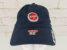 CCM H-Puck Strapback Hat Hockey Lid Cap Blue Stick Logo Embroidered