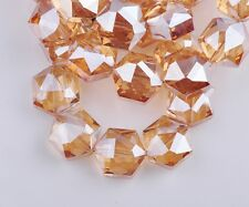 10pcs 13mm Amber Gold Hexagon Rondelle Faceted Crystal Glass Loose Spacer Beads