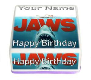 Jaws Birthday Edible Cake Topper Square Rice Paper or Icing,Personal.146