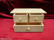 3- Pull Draws Natural Pine Wood Jewellery Gift Boxes Decoupage art craft