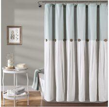 "Lush Decor Blue & White Linen Button Shower Curtain 72"" x 72"" Nwot"