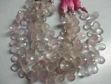 """AAA ROSE QUARTZ PEAR BRIOLETTE FACETED 7X9,8X11 MM, 8"""" LOOSE GEMSTONE BEADS"""