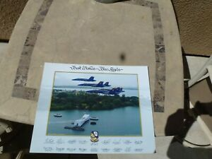2015 US Navy Blue Angels Team Lithograph Pearl Harbor Hawaii Arizona Memorial