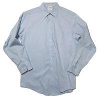 Brooks Brothers 346 Mens L 16.5 4/5 Button Down Shirt Blue Slim Fit No Iron