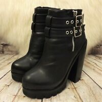 Womens New Look Black Zip Up High Heel Platform Ankle Boots UK 3 EUR 36