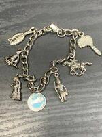 Vintage Silver Tone Enameled Kentucky State collector travel Charm Bracelet
