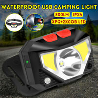 LED Head Torch Head Light Lamp Camping Hand Induction Headlamp USB