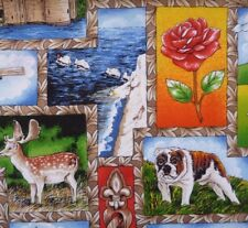 England English Icons Travel Memory Bull Dog Fabric Sewing Quilting Craft FQ