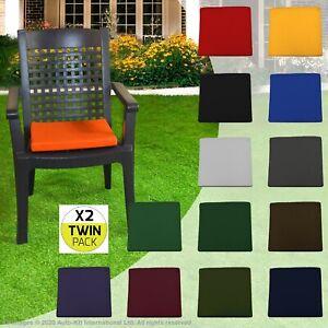 WATERPROOF TWIN PACK Chair Cushion SEAT PADS OUTDOOR Home Garden Furniture Ties
