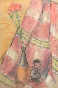 Antique impressionist pastel painting still life with flower and candle