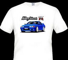 NISSAN  R32  GT-R  GTR  SKYLINE  QUALITY  WHITE  TSHIRT  ( 6 CAR  COLOURS)