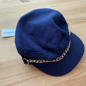 NWT JANIE AND JACK Navy Blue Gold Chain Cap Hat Size 12-24 Months