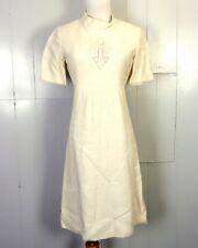 vtg 60s ROCKABILLY Solid Cream Linen Dress Pink J. A. P. Monogram 34 Bust