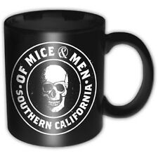 More details for of mice and men black white skull southern cali boxed coffee gift mug official