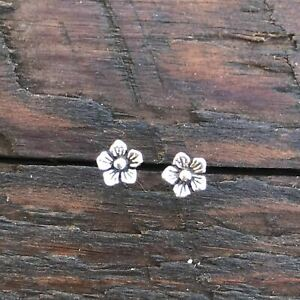 Sterling Silver 'Floral' Mini Stud Earrings