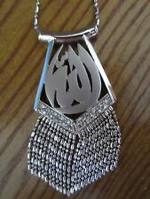 Allah Gorgeous Stunning 18 Karat White Gold Dangly Necklace With Chain Brand New